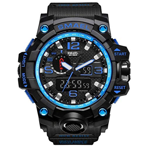 SMAEL Mens Digital Sports Watch Large Face Military Watches Electronic Waterproof Casual LED Stopwatch Alarm Digital Analog Dual Time Outdoor Army Wristwatch ()
