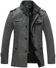 Wantdo Men's Wool Blend Pea Coat Single Breasted Thicken Warm Peacoat Jac
