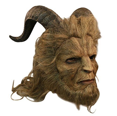 1:1 Beast Head Mask, Deluxe Latex Novelty Halloween Costume Party Props with Brown Wig (Long Hair)