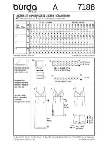 Burda 7186 - Patrones de costura para batas y lencería de mujer (tallas 38-58): Amazon.es: Hogar