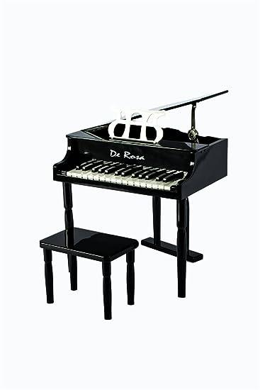 Petite 30 Keys Black Kids Baby Grand Piano With Matching Bench U0026 Sheet  Music Stand U0026
