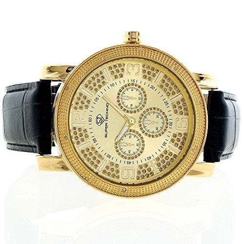 Super Techno Diamond Watch Mens Genuine Diamond Watch Oversized Gold Case Leather Band w/ 2 Interchangeable Watch Bands #M6028 (Super Techno Watches For Men Gold compare prices)