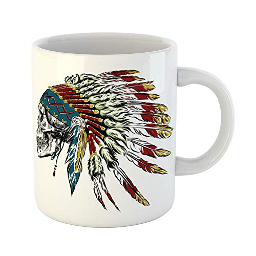Emvency Coffee Tea Mug Gift 11 Ounces Funny Ceramic Chief Native American Indian Feather Headdress Human Skull History Gifts For Family Friends Coworkers Boss Mug