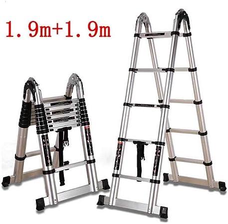 ZPWSNH Escalera Plegable de ingeniería en Espiga Recta Escalera Doble telescópica bambú hogar multifunción Escalera de Aluminio Taburete (Size : 1.9m+1.9m): Amazon.es: Hogar