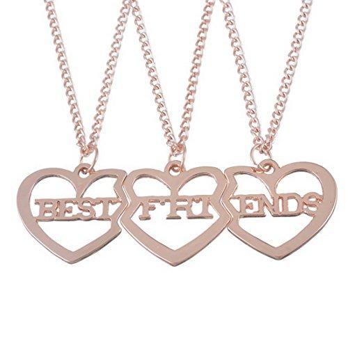 MJartoria Best Friend Necklaces Letter Filigree Trio Heart Puzzle Pendant Chain Necklace Rose Gold Color BFF Necklaces Set of 3 Friendship Necklaces