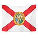 Emvency Tapestry America Florida State Flag USA Celebration Home Decor Wall Hanging for Living Room Bedroom Dorm 60x80 inches