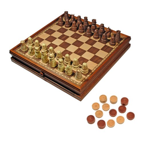 (WE Games Medieval Chess & Checkers Game Set - Brown & Ivory Chessmen, Wooden Storage Board - 15 inch)