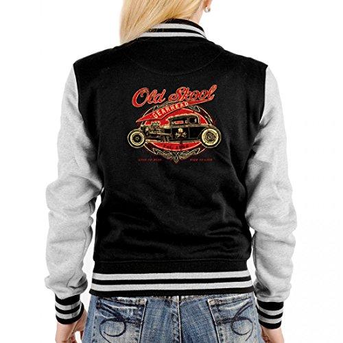 USA Biker College-Jacke für Damen - Old Skool mit Oldtimer - auch als Geschenk-Idee mit Hot Rod Motiv - Grau