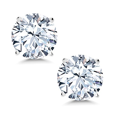 Gem Stone King 14K White Gold White Created Sapphire Women's Stud Earrings 2.00 Cttw 6MM ()