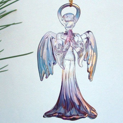 Angel Christmas Ornament of Hand Blown Glass