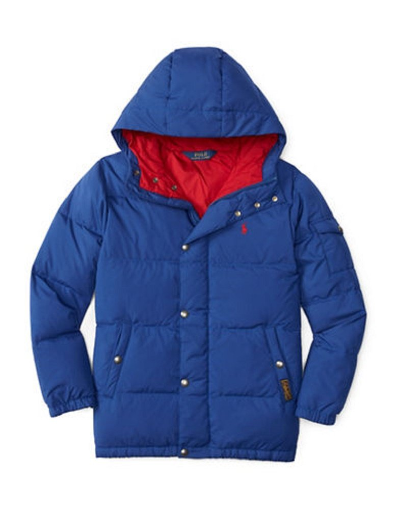 Ralph Lauren Boy's Hooded Quilted Down Jacket (X-Large, Chase Blue)