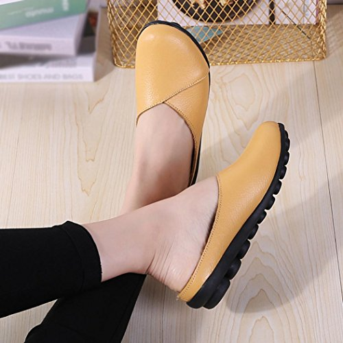 IGEMY Women's Flats Pure Color Soft Bottom Shoes Soft Slip-on Casual Boat Shoes Yellow hlkdXt3h
