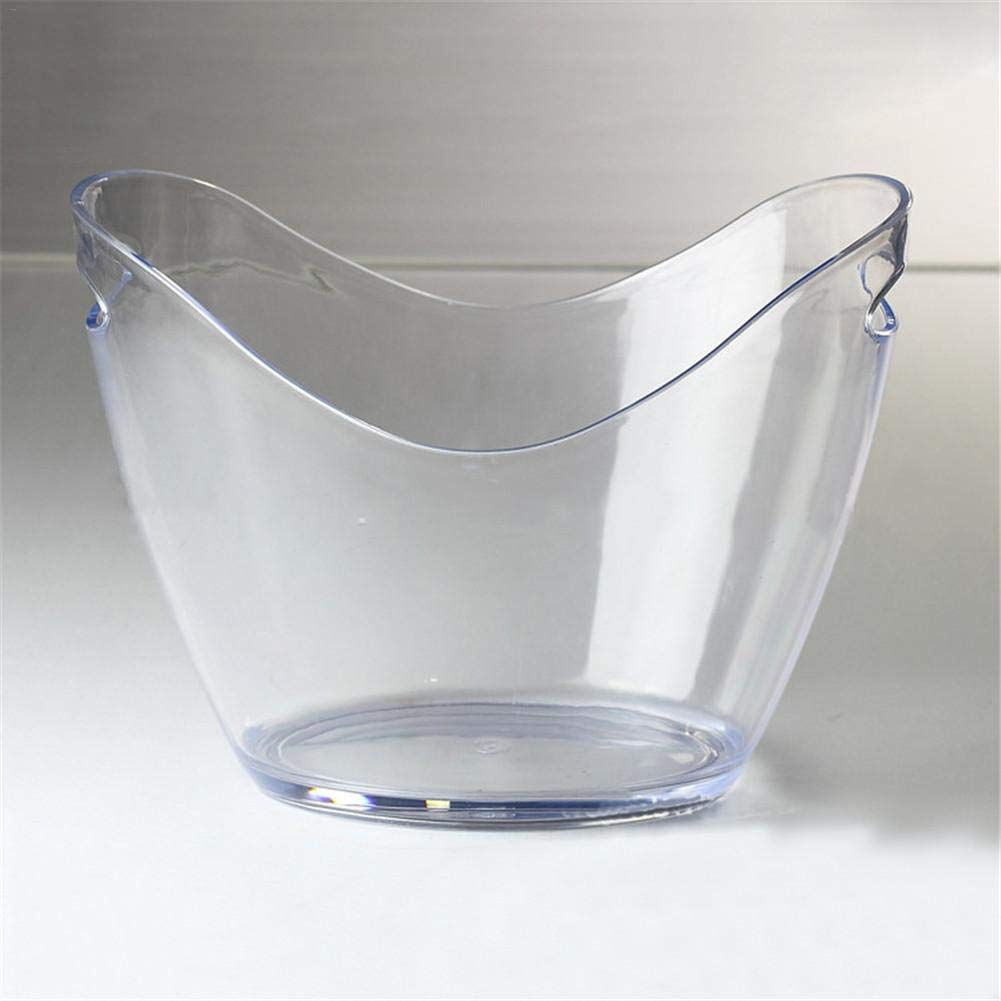 Wateralone Transparent Ice Bucket Large Drinks Cooler Bucket Acrylic Champagne Bucket Wine Bucket Bar Tools for Champagne Wine Cola Drinks with Portable Handle