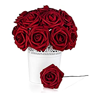Umiss Roses Artificial Flowers Fake Flowers Wedding Decorations Set 50pcs Artificial Flora DIY Wedding Home Office Party Hotel Restaurant Patio Yard Decoration (Red Wine) 74