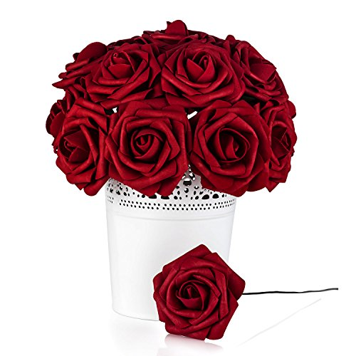 Umiss Roses Artificial Flowers Fake Flowers Wedding Decorations Set 50pcs Artificial Flora DIY Wedding Home Office Party Hotel Restaurant Patio Yard Decoration (Red Wine)