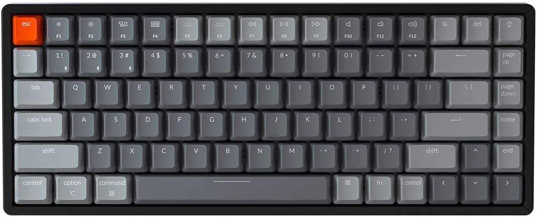 Keychron K2 Wireless Bluetooth/USB Wired Gaming Mechanical Keyboard, Compact 84 Keys RGB LED Backlit N-Key Rollover Aluminum Frame for Mac Windows, Gateron Blue Switch, Version 2