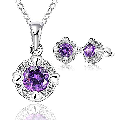 Fashion Jewerly Sets 18K White Gold/Gold/Rose Gold Plated Purple CZ Cubic Zirconia Crystal Multicolor Gemstone Pendant Necklace & Hypoallergenic Studs Earrings For Women Girls(Round Zirconia Violet) ()