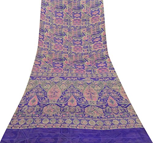 Vintage Indian Pure Silk Multicolour Saree Abstract Printed Ethnic Craft Fabric