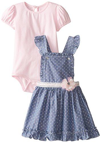 Nannette Baby Girls' Chambray Jumper Dress and Creeper, Pink/Blue, 12 Months