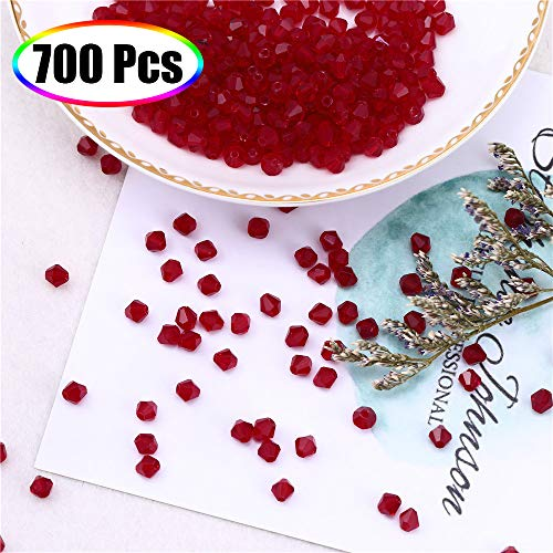 XINFANGXIU Crystal Glass Beads for Jewelry Making, 700Pcs Dark. Siam Glass Bicone Beads Faceted Beads 4mm Wholesale for DIY Craft Bracelet Necklace Earring with Box