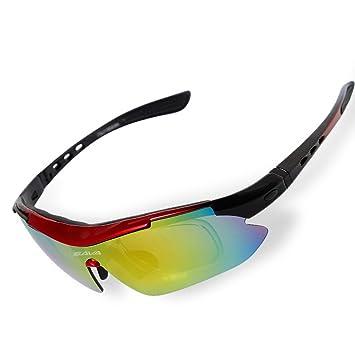 SAVADECK TR90 Gafas de Sol Deportivas Polarizadas Manera Reflexiva de Deportes al Aire Libre para Bicicleta Actividades con 5 Lentes de Cambio (Rojo): ...