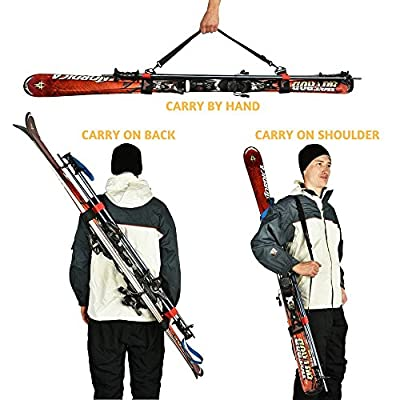 Athletrek Ski and Pole Carrier Strap with Durable Cushioned Hook and Loop to Protect Skis from Scratches | Bonus Ski Boot Carrier | Perfect Ski Snow Gear Accessory | Use Over Shoulder to Free up Hands
