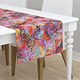 Table Runner - Rococo Baroque Italian Ornate Elegant Bright Rainbow by Peacoquettedesigns - Cotton Sateen Table Runner 16 x 72