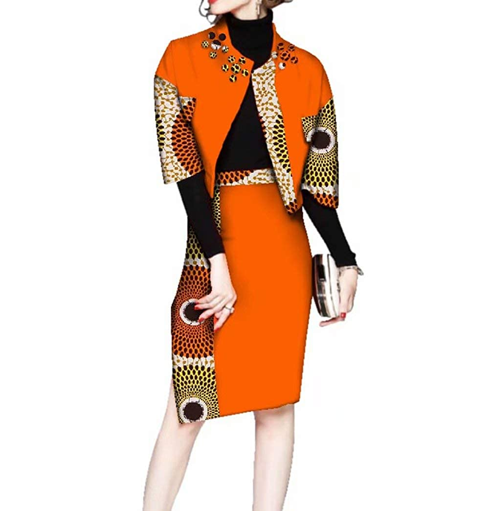 Pl537 Womens Ankara Suit Sets Half Sleeve African Print Outerwear & Skirt Sets