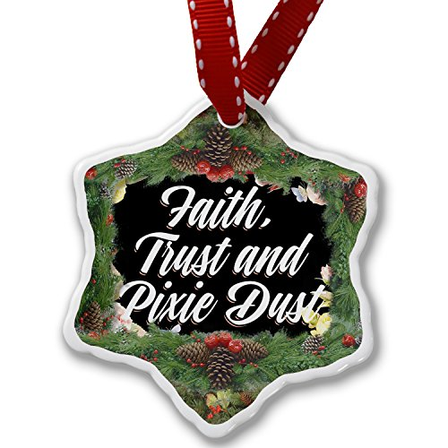 Christmas Ornament Floral Border Faith, Trust and Pixie Dust - Neonblond by NEONBLOND