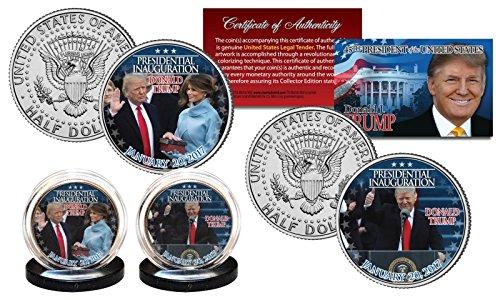 DONALD TRUMP 45TH PRESIDENT OFFICAL INAUGURATION 1/20/2017 JOHN F. KENNEDY HALF DOLLAR 2 SET! W/H COA & DISPLAY STANDS!