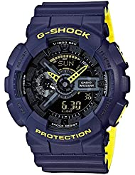 Mens Casio G-Shock Anti-Magnetic Navy Blue and Neon Yellow Resin Watch GA110LN-2A