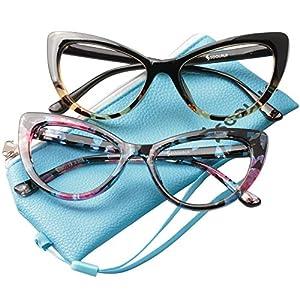 SOOLALA Womens Oversized Fashion Cat Eye Eyeglasses Frame Large Reading Glasses, LeoFloral, +3.5D