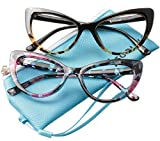 SOOLALA Womens Oversized Fashion Cat Eye Eyeglasses Frame Large Reading Glasses (2 Pairs/Leopard and Floral, 2.75)