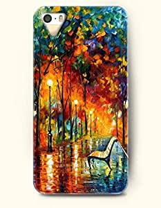 iPhone 5/5S Case, OOFIT Phone Cover Series for Apple iPhone 5 5S Case (DOESN'T FIT iPhone 5C)-- Ink Painting- A Bench And Woods In A Park -- Rainbow Color Series