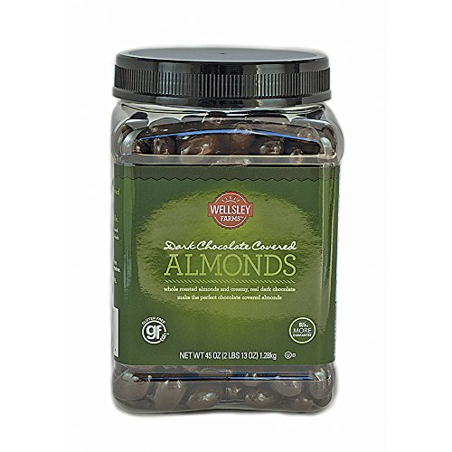 Wellsley Farms Dark Chocolate Covered Almonds, 45 oz. (pack of 6) by Wellsley Farms