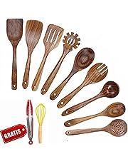 JUJOYBD Köksredskapsset trä – kökshjälpsset – köksbestick köksskedar teak – köksredskap värmebeständiga matlagningsverktyg för non-stick köksredskap (11 st)