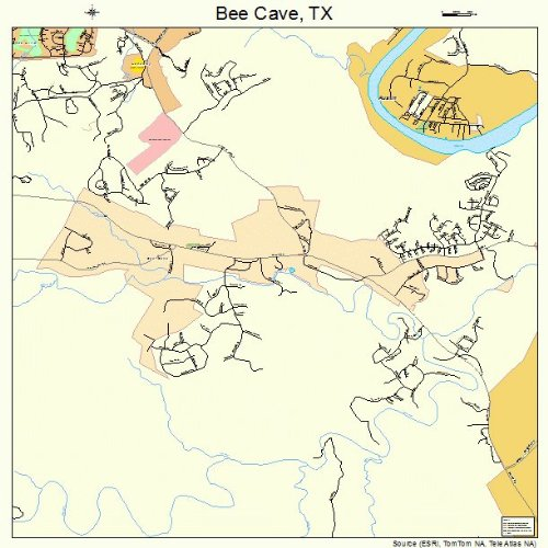 Large Street & Road Map of Bee Cave, Texas TX - Printed poster size wall atlas of your home - Texas Caves Bee