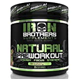 Natural Pre Workout Energy Powder -Fat Burner - Nitric Oxide Supplement for Men & Women - Creatine Free - 25 Servings - Beta Alanine - Naturally Sweetened - Vegan Friendly Drink - Focus & Muscle