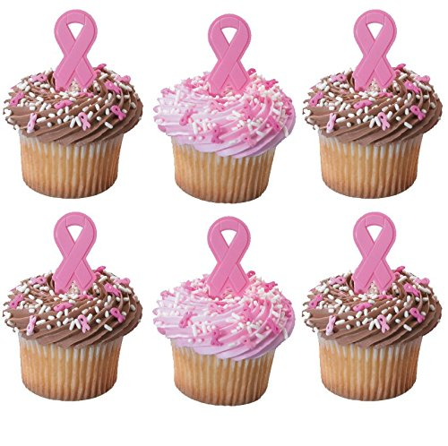 Bundle of Fun Breast Cancer Awareness Cupcake Toppers Pink Ribbons - 24 -