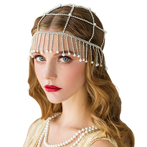 SWEETV 1920s Headpiece Rhinestone Flapper Headband Beaded Cap Art Deco Hair Piece 20s Accessories for Gatsby Party ()