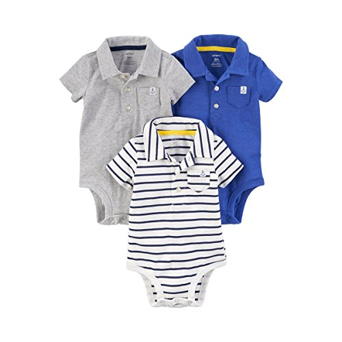 Polo Bodysuit - Carter's Baby Boys' 3-Pack Short-Sleeve Polo-Style Bodysuits (Heather/Blue, 12 Months)