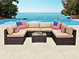 PATIOROMA Outdoor Furniture Sectional Sofa Set (9-Piece Set) All-Weather Brown Wicker with Beige Seat Cushions &Glass Coffee Table| Patio, Backyard, Pool| Steel Frame For Sale