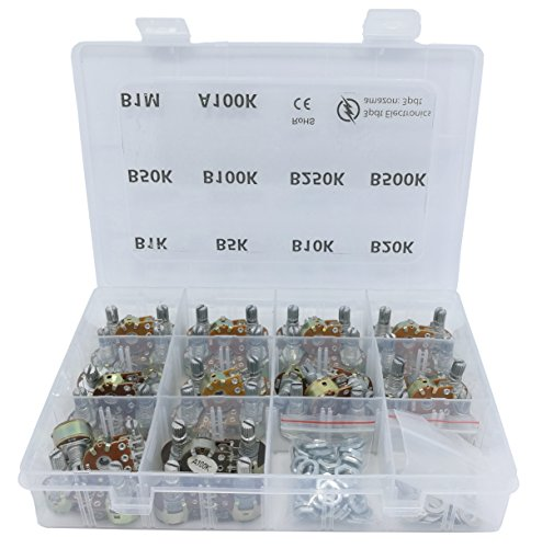 50 pcs Dual Gang Stereo 6-pin Potentiometer Assortment 1k 5k 10k 20k 50k 100k 250k 500k 1M ()