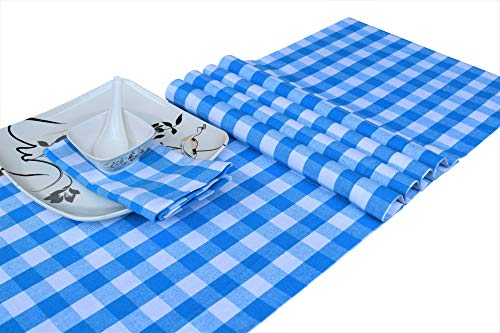 light blue and white table runner - 7