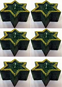 WHOLESALE CHRISTMAS STAR CANDLES. 96 SHAPES WITH GOLD GLITTER. DISCOUNT BULK BUY