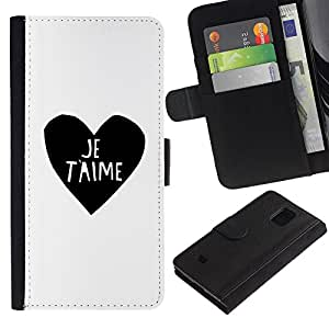 Billetera de Cuero Caso Titular de la tarjeta Carcasa Funda para Samsung Galaxy S5 Mini, SM-G800, NOT S5 REGULAR! / Love Heart Black White I You Je T'Aime / STRONG
