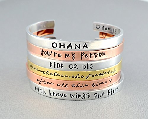 (Customized Hand Stamped Cuff Bracelet, Personalized Meaningful Gift, Your Own Sayings, Aluminum, Copper or Brass, Mother Sisters Couuples Family Friends BFF Mom Gift, Custom Gifts For Her And Him)