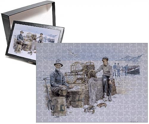 Photo Jigsaw Puzzle of Fishermen by the sea with lobster/crab pots