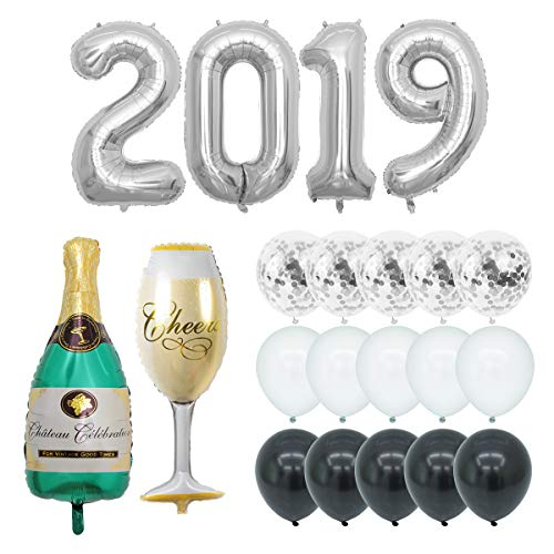 (40 inch 2019 Silver Foil Balloon for Graduation Party Supplies Champagne Bottle Goblet Pre-Filled 12inch Confetti Balloons for 2019 New Year Party Decoration Graduation Celebrations)