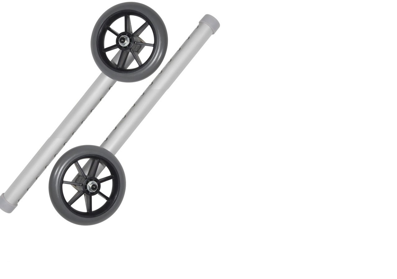 5'' Universal wheels 11 Hols Replacement Kit for Walker W/Glide Tips 1/pr by Healthline Trading